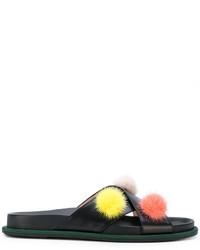 Sandali piatti in pelle neri di Fendi