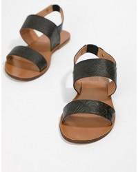 Sandali piatti in pelle neri di Love Moschino