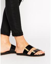 Sandali piatti in pelle neri di Ted Baker