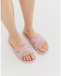 Sandali piatti in pelle rosa di Ted Baker