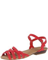 Sandali piatti in pelle rossi