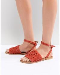 Sandali piatti in pelle rossi di ASOS DESIGN