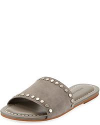 Sandali piatti in pelle scamosciata grigi