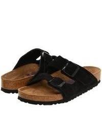 Sandali piatti in pelle scamosciata neri