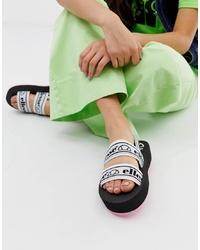 Sandali piatti in pelle stampati bianchi di Ellesse