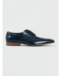 Scarpe brogue in pelle blu scuro