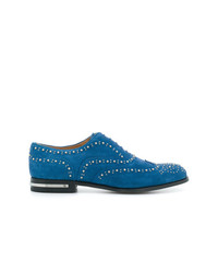 Scarpe brogue in pelle scamosciata blu di Church's