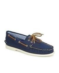 Scarpe da barca di tela blu scuro