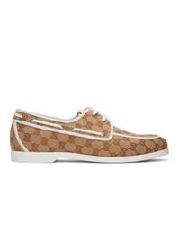 Scarpe da barca di tela marrone chiaro di Gucci