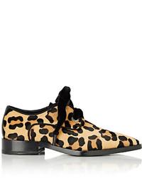 Scarpe derby in cavallino leopardate beige