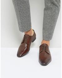 Scarpe derby in pelle marrone scuro di Silver Street
