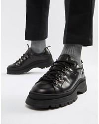 Scarpe derby in pelle pesanti nere di ASOS DESIGN