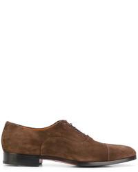 Scarpe derby in pelle scamosciata marroni di Santoni