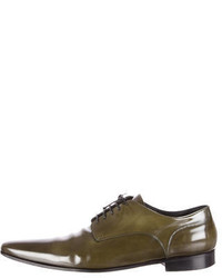 Scarpe derby in pelle verde oliva