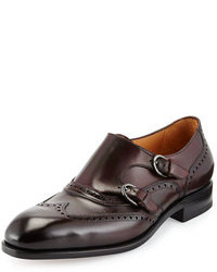 Scarpe double monk in pelle bordeaux