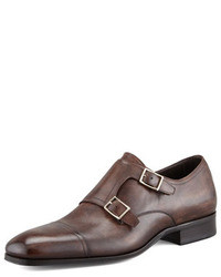 Scarpe double monk in pelle marrone scuro