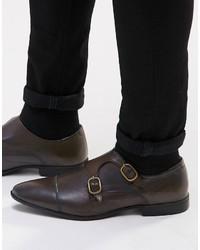 Scarpe double monk in pelle marrone scuro di Asos