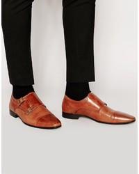 Scarpe double monk in pelle marroni di Asos