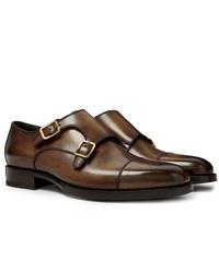 Scarpe double monk in pelle marroni di Tom Ford