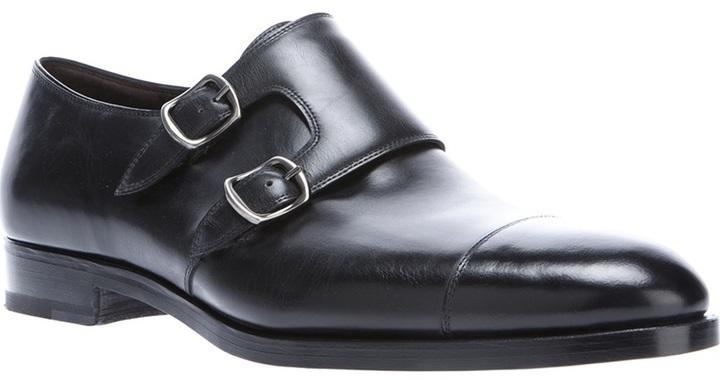new style fd50e 22f84 Scarpe double monk in pelle nere di Fratelli Rossetti
