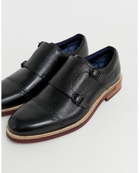 Scarpe double monk in pelle nere di Ted Baker