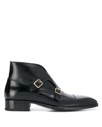 Scarpe double monk in pelle nere di Tom Ford