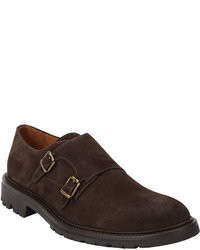 Scarpe double monk in pelle scamosciata marrone scuro