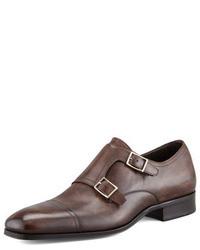 Scarpe double monk marrone scuro