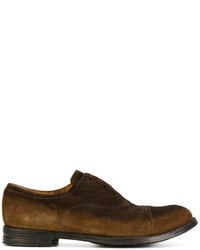 Scarpe oxford in pelle scamosciata marrone scuro di Officine Creative