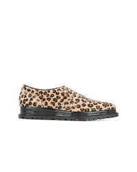 Scarpe oxford leopardate marrone chiaro di Sacai