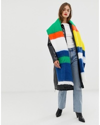 Scialle a righe orizzontali multicolore