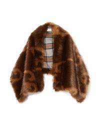 Scialle di pelliccia marrone di Gucci