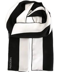 Sciarpa a righe verticali bianca e nera di Valentino