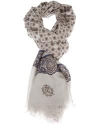 Sciarpa con stampa cachemire grigia di Dolce & Gabbana