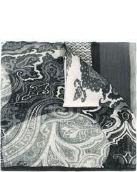 Sciarpa con stampa cachemire grigia di Etro