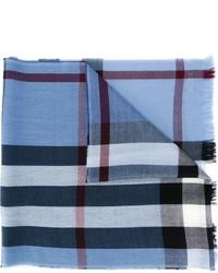 Sciarpa di lana a quadri azzurra di Burberry