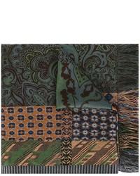 Sciarpa di lana stampata verde oliva di Etro
