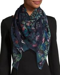 Sciarpa di seta a fiori blu scuro