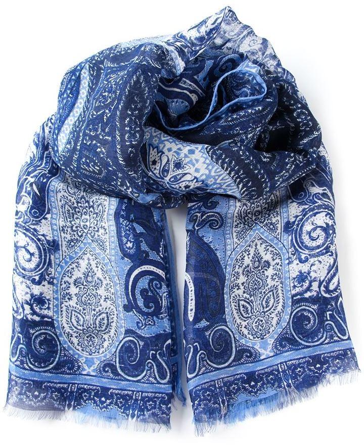 best service 4e5df 6dcb3 Sciarpa di seta con stampa cachemire blu di Etro