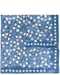 Sciarpa di seta con stelle blu di Valentino