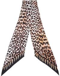Sciarpa di seta leopardata marrone chiaro