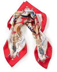 Sciarpa di seta rossa e bianca