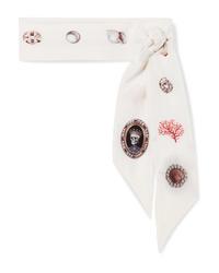 Sciarpa di seta stampata bianca di Alexander McQueen