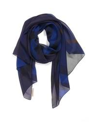 Sciarpa di seta stampata blu scuro