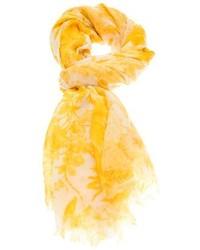 Sciarpa di seta stampata gialla