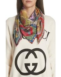 Sciarpa di seta stampata multicolore