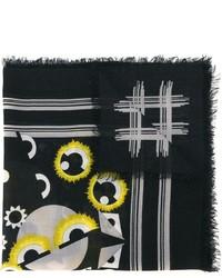 Sciarpa di seta stampata nera di Fendi