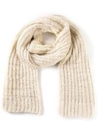 Sciarpa lavorata a maglia beige di The Elder Statesman