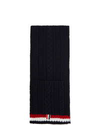 Sciarpa lavorata a maglia blu scuro di Thom Browne