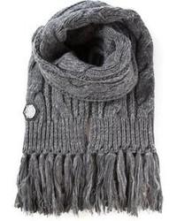Sciarpa lavorata a maglia grigia di Philipp Plein